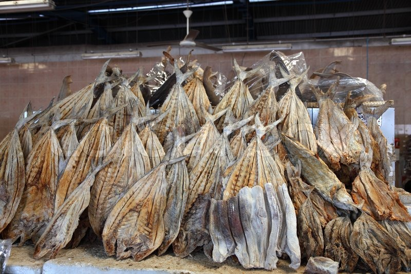 Dried salted fish at market in Dubai, United Arab Emirates | Stock ...
