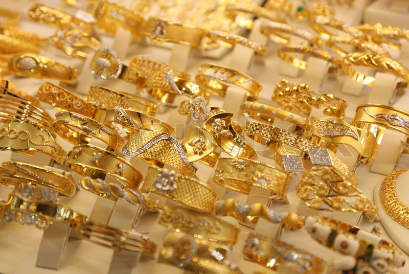 Beautiful Gold Rings In A Shop Window In Istanbul Turkey