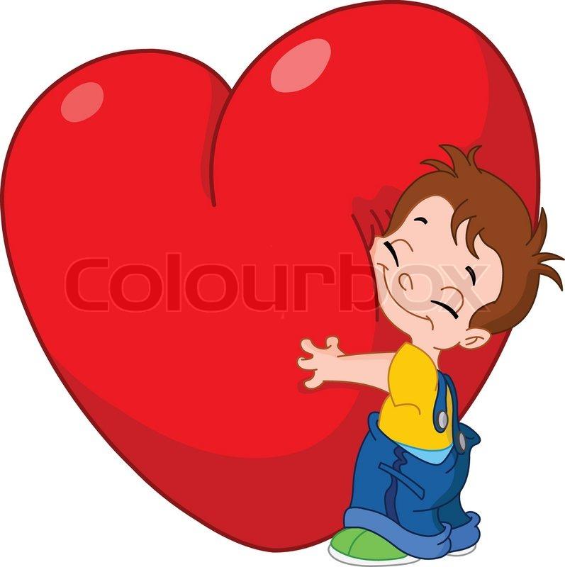 lille dreng hugging et stort hjerte stock vektor colourbox. Black Bedroom Furniture Sets. Home Design Ideas