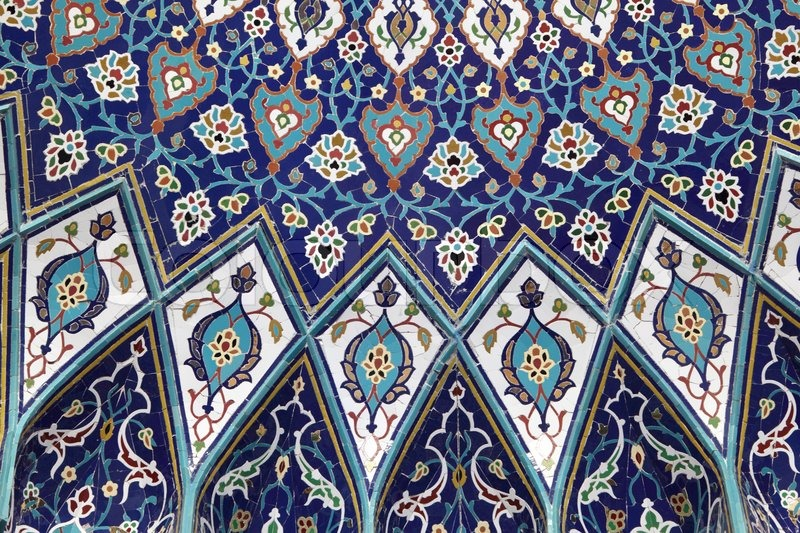 oriental mosaic inside of the grand mosque muscat