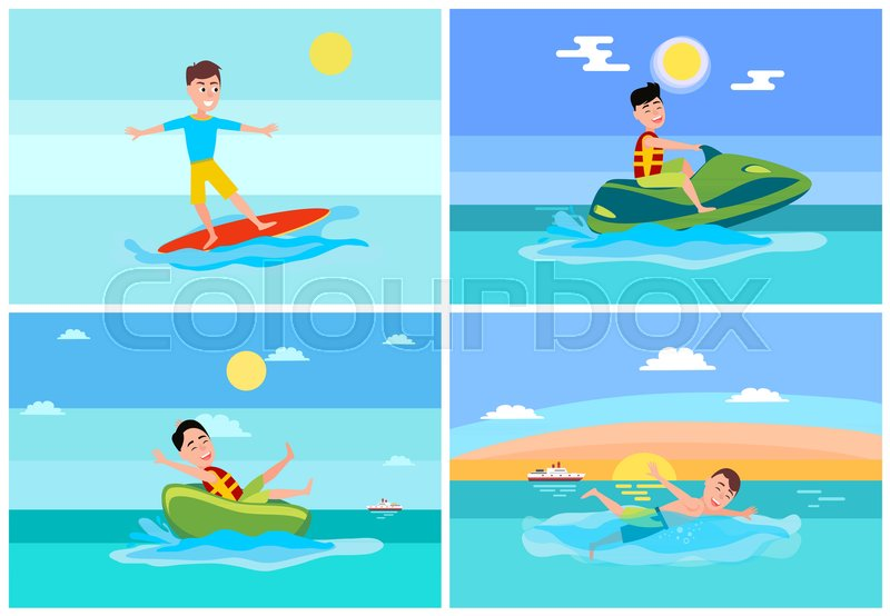 Surfing summer, sport collection, jet ski and donut ride, swimming person and ship on water and seascapes, vector illustration, vector