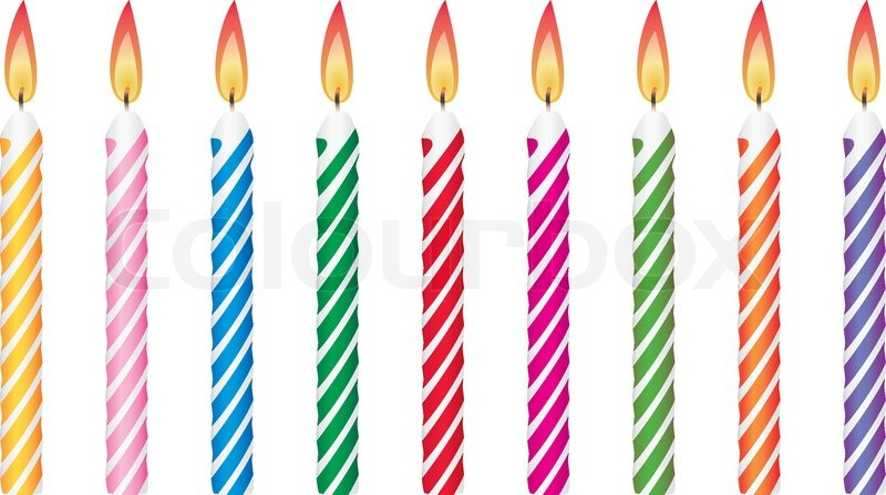 Birthday Candle Template Colorful birthday candles