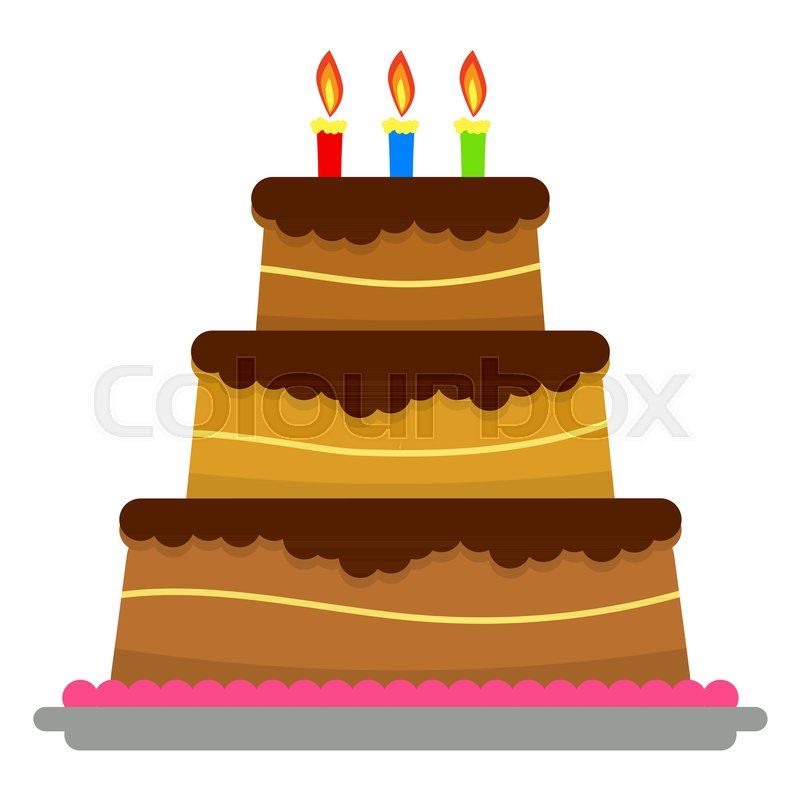 Sweet Birthday Cake With Three Burning Candles Colorful Holiday
