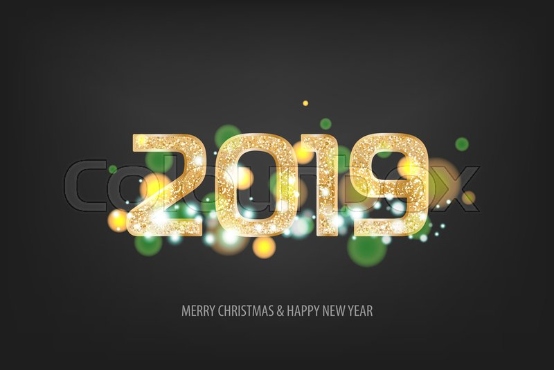 2019 vector magic golden shimmer invintation holiday new year dark night background sparkle christmas lights stock vector colourbox