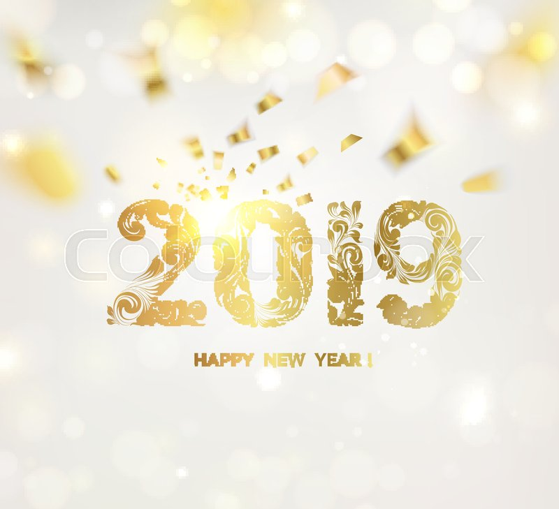 happy new year card over gray background with golden confetti happy new year 2019 holiday card template for your design vector illustration
