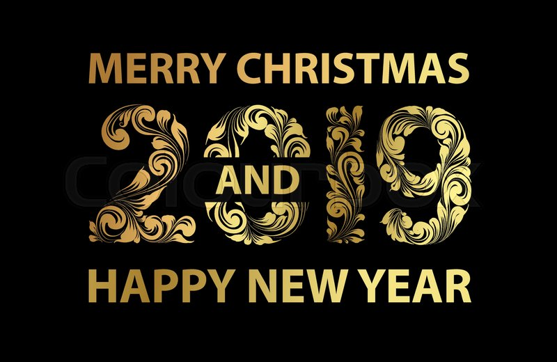christmas card with calligraphic text over black background merry christmas and happy new year 2019 text on greeting card vector illustration