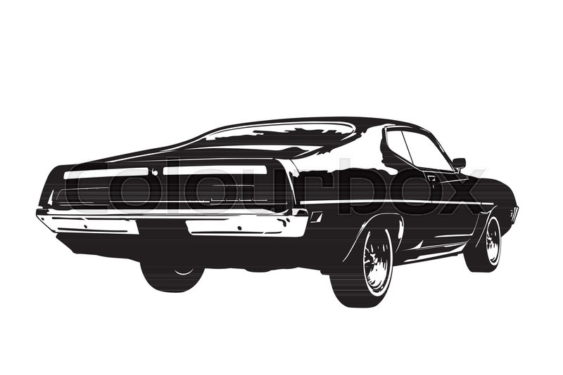 Silhouette Of American Muscle Car Early 1970s Back View Vector
