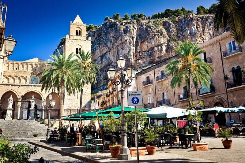 Main Square In Cefalu Town Sicily Italy Stock Photo