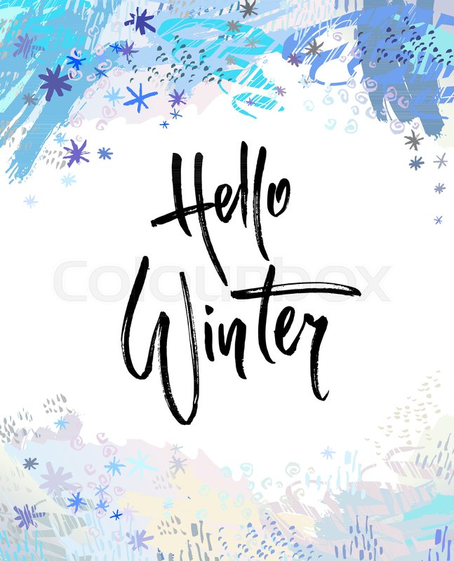 hello winter brush lettering calligraphy handwritten text for cards invitations templates with blue snowflake design vector illustration stock vector