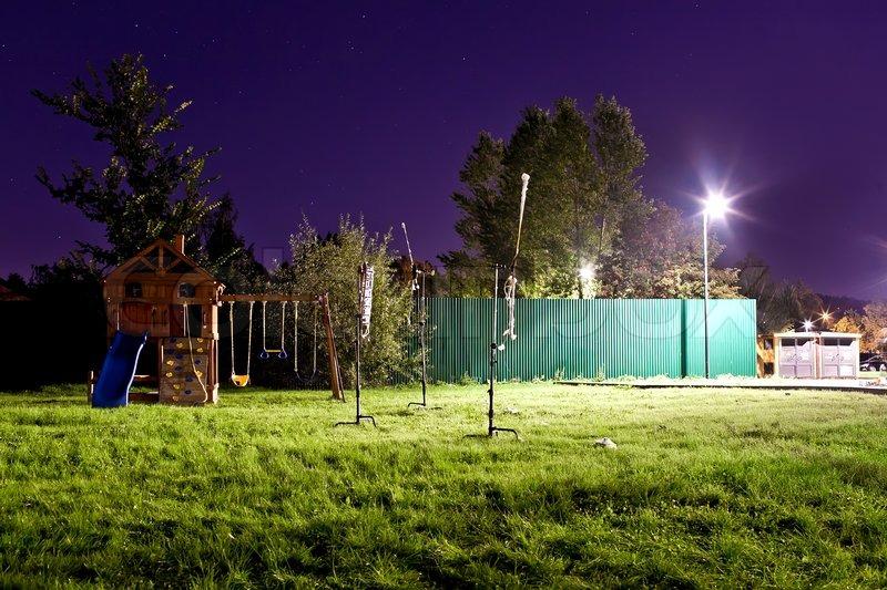 Empty Children S Playground At Night At Summer Stock