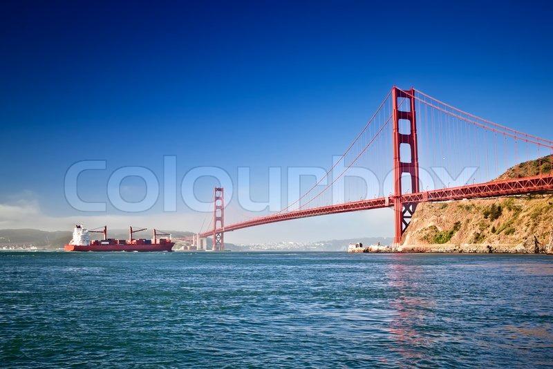 Golden Gate Bridge At Morning San Stock Photo