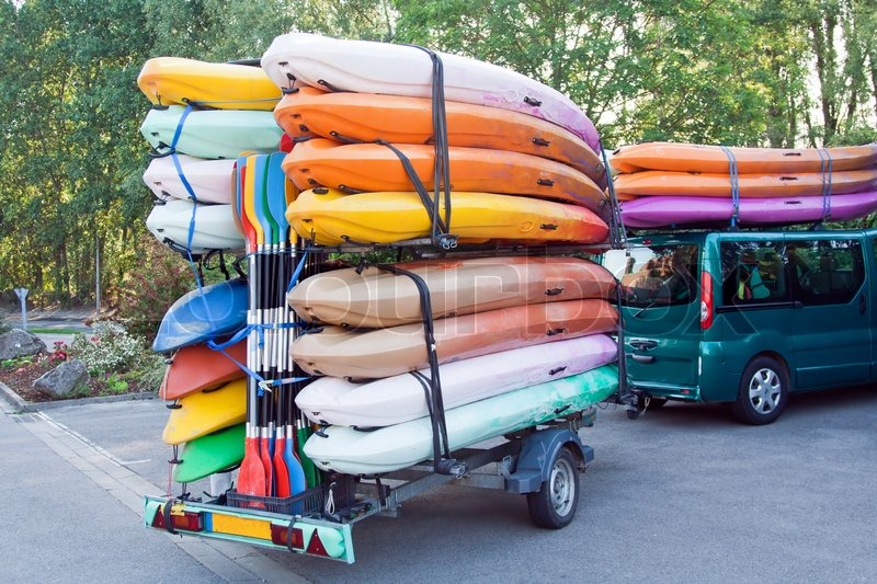 Car With Trailer With Kayaks And Paddles Stock Photo