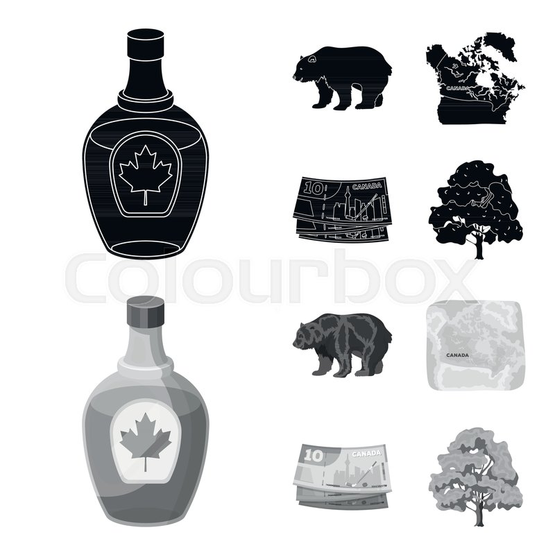 Canadian Dollar Territory Map And Other Symbols Of The Country