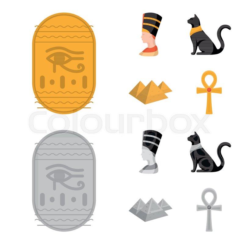 Eye of Horus, black Egyptian cat,     | Stock vector | Colourbox