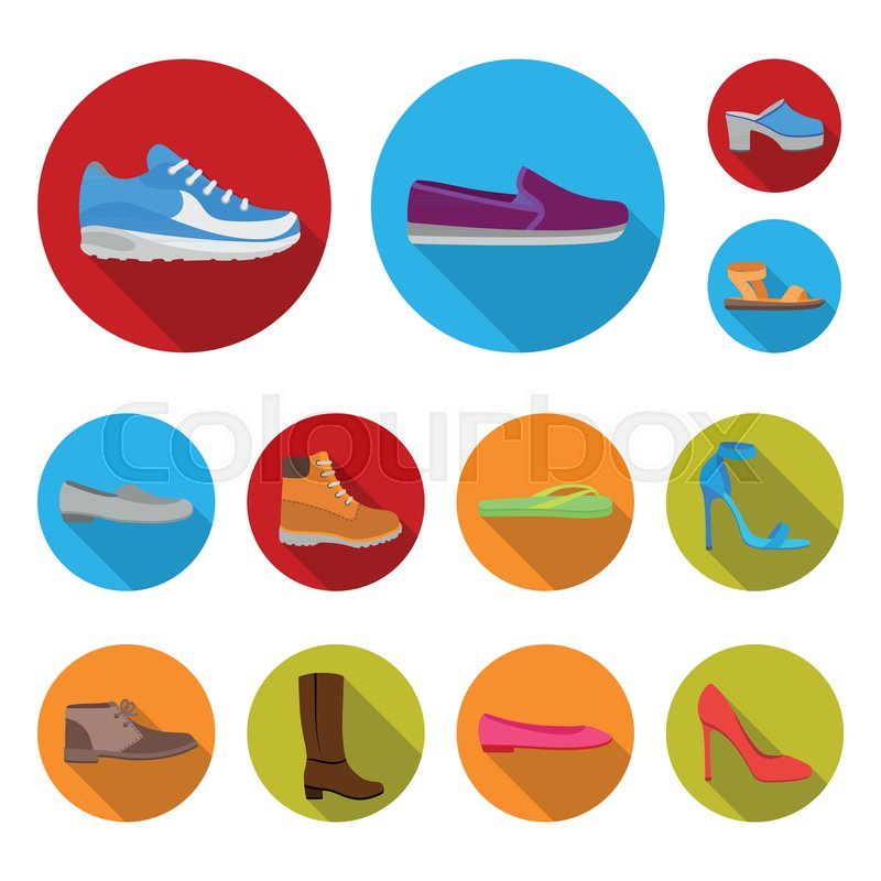 37fe6134d716 A variety of shoes flat icons in set ... | Stock vector | Colourbox