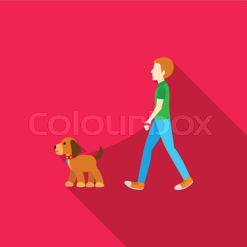 dog walk vector illustration icon in stock vector colourbox colourbox