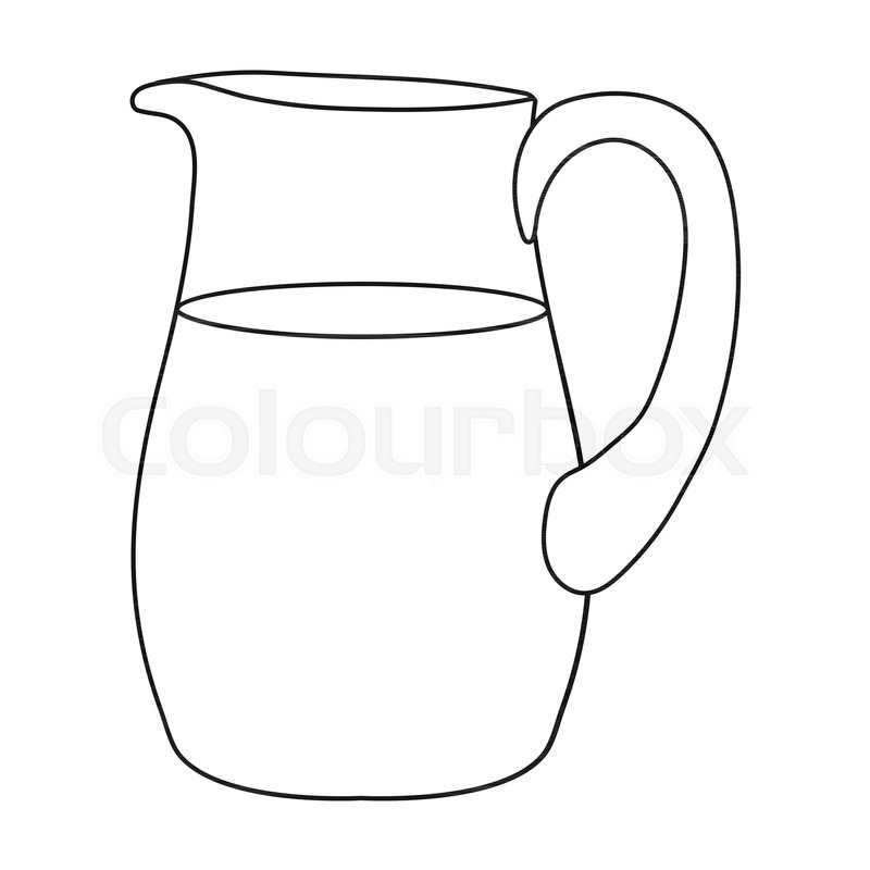 Line Drawing Jug : Milk jug icon in outline style isolated on white