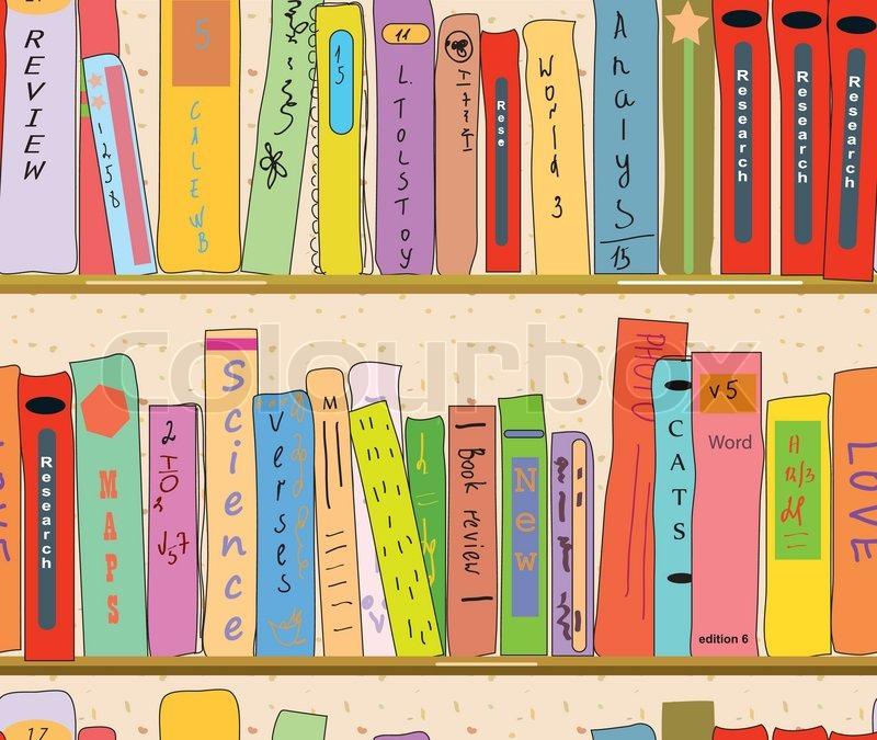 Book shelves in the library seamless pattern stock - Estantes para libros ...