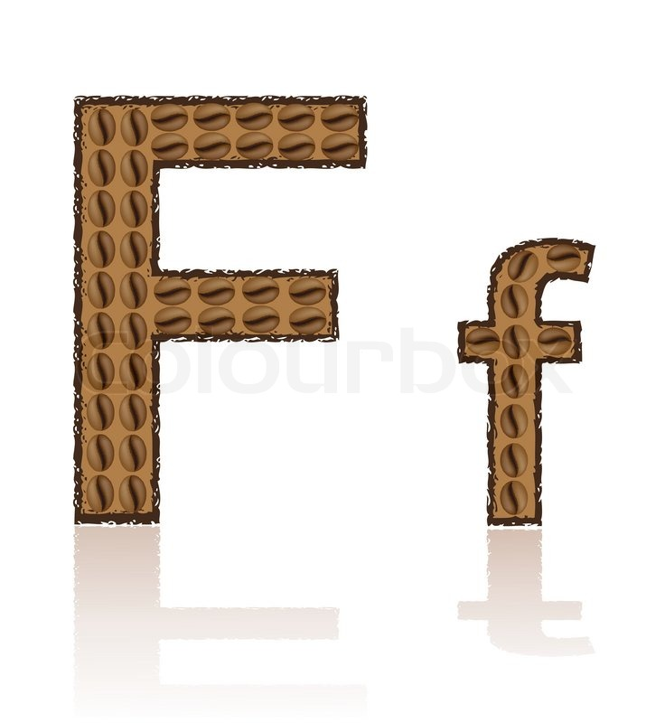 Letter f is made grains of coffee vector illustration for Irish mail cart plans