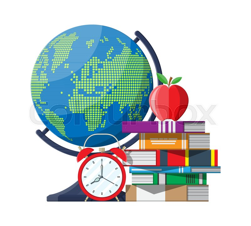 Red apple on pile of books alarm clocks and globe with world map red apple on pile of books alarm clocks and globe with world map education and study learning concept back to school vector illustration in flat style gumiabroncs Images
