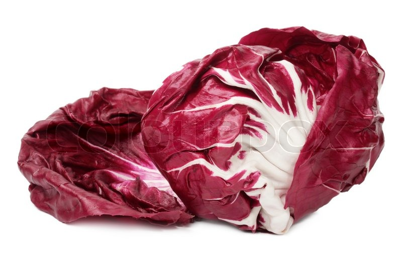 Italian red lettuce leaves Radichchio, isolated on a white ...