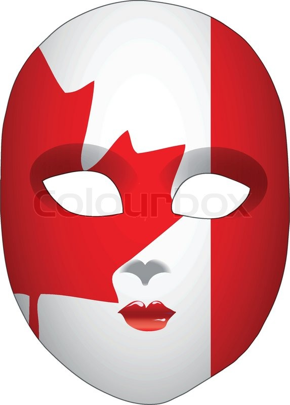 Classic Mask With Symbols Of Statehood Of Canada Vector Illustration