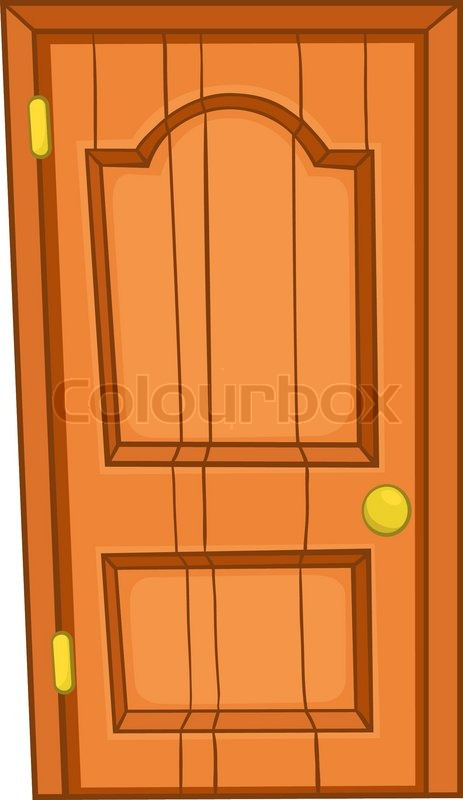 Cartoon Home Door Isolated on White Background | Stock Vector ...