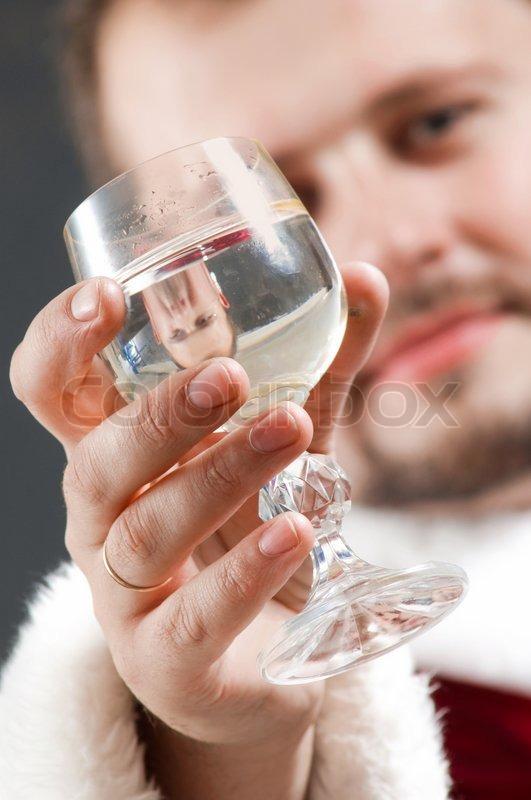 Santa Drinking Wine Drinking Wine Stock Photo