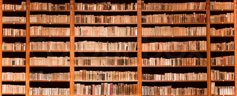 Lots of old books in a old library, stock photo