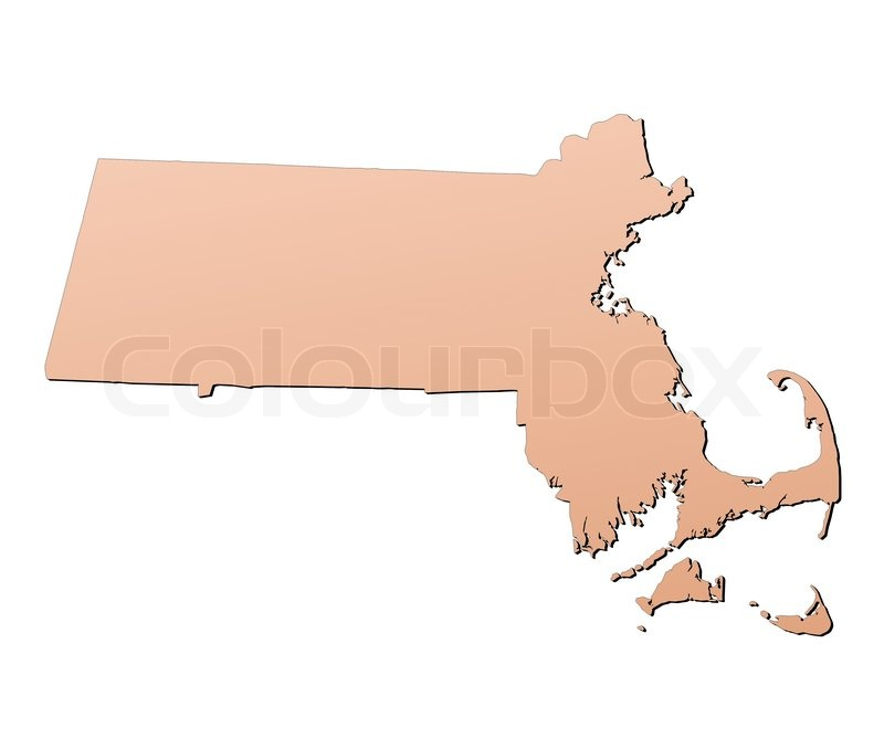massachusetts usa map filled with brown gradient mercator projection stock photo