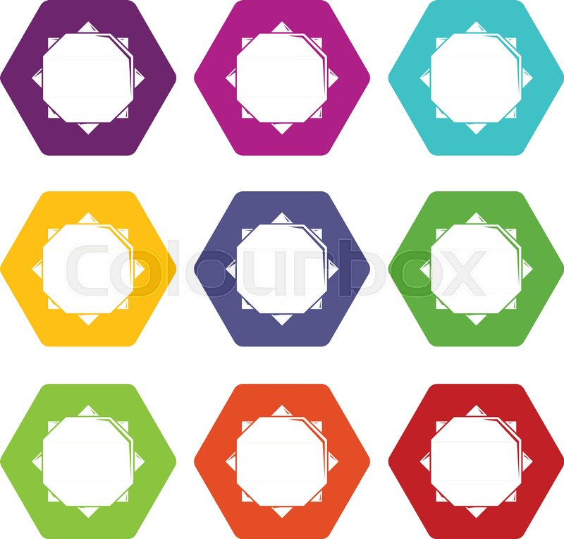 Origami Sun Icons 9 Set Coloful Isolated On White For Web Stock