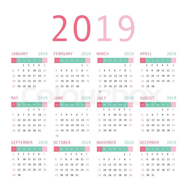 calendar template design 2019  week