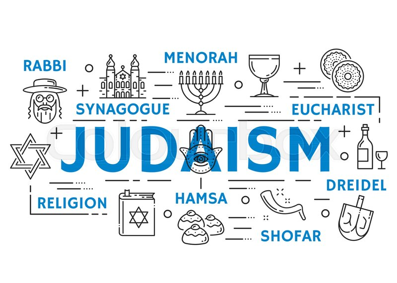 Judaism Religion Banner With Jewish Culture And Philosophy Thin Line