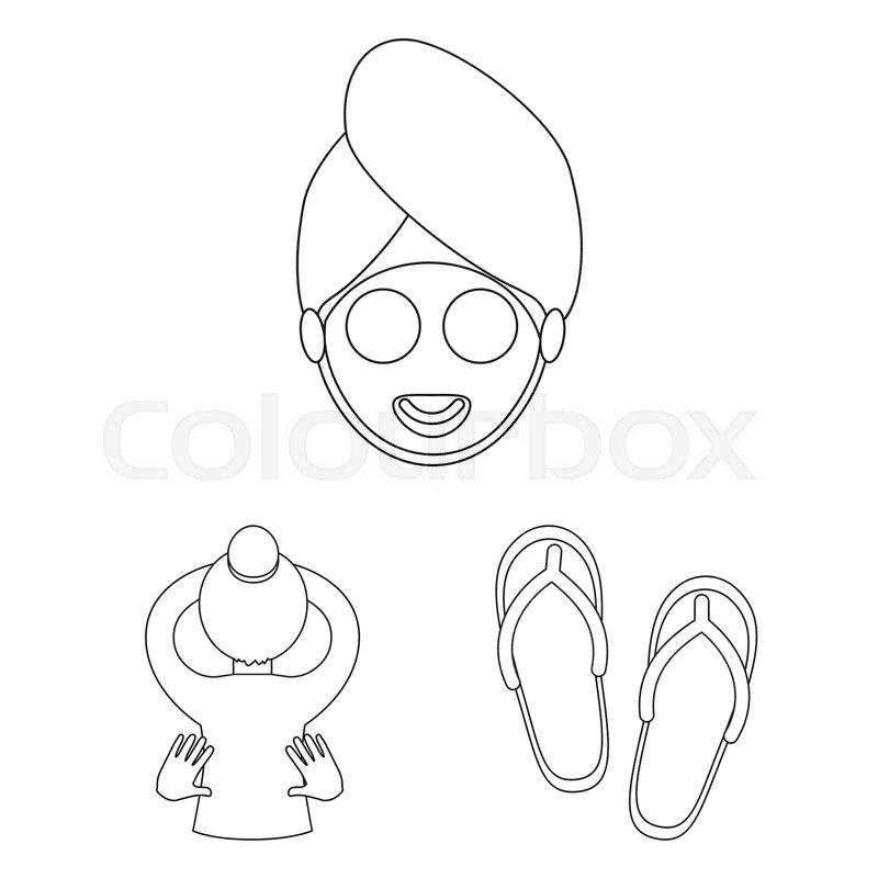 Spa salon and equipment outline icons     | Stock vector