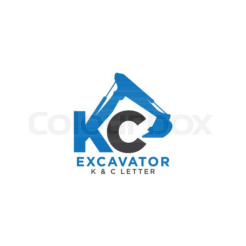 letter k and c initial excavator template stock vector colourbox