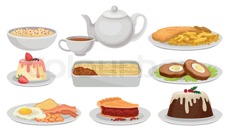 Flat vector set of traditional english food tasty dishes desserts flat vector set of traditional english food tasty dishes desserts and tea british cuisine elements for recipe book cafe or restaurant menu stock forumfinder Image collections