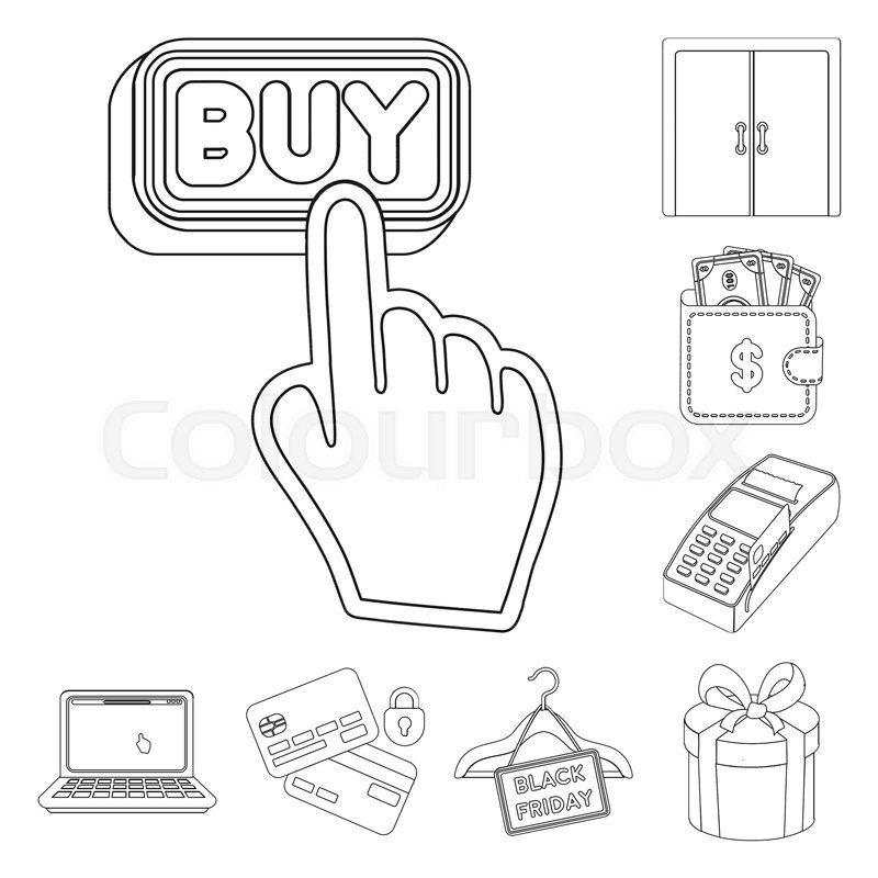 E Commerce Purchase And Sale Outline Icons In Set Collection For