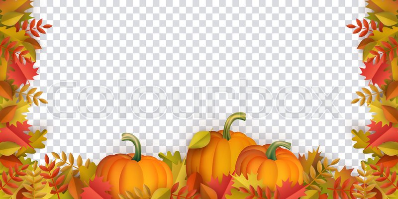 autumn leaves and pumpkins border frame with space text on