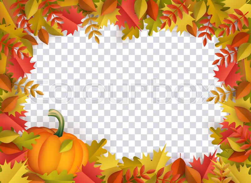 Autumn Leaves And Pumpkins Border Stock Vector