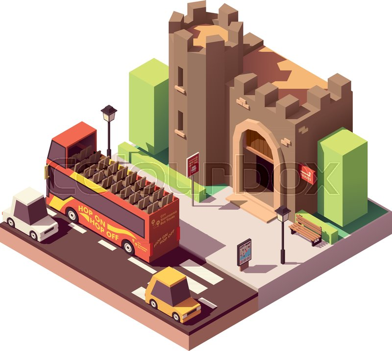 Vector isometric tourist attractions icon representing ancient castle or fortress, hop on hop off tourist bus, city map on the billboard and tickets sign, vector