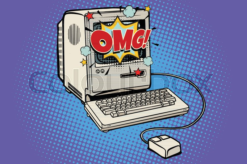 OMG vintage retro computer  Pop art     | Stock vector