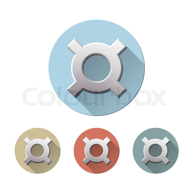 Set Of Generic Currency Symbol On Colored Circle Flat Icons