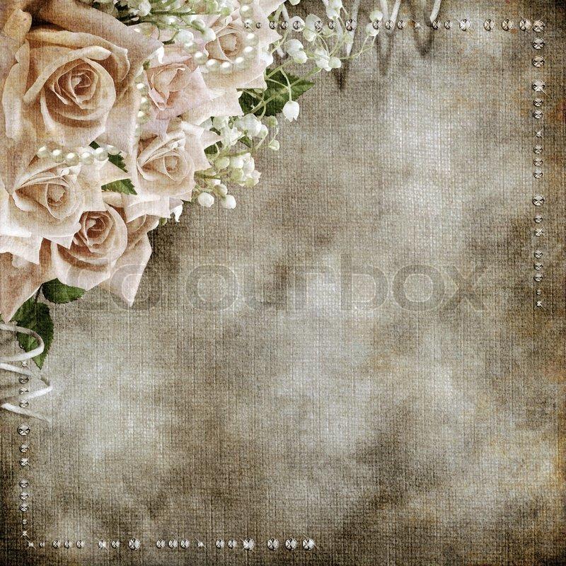 Romantic Antique Wedding: Wedding Vintage Romantic Background With Roses
