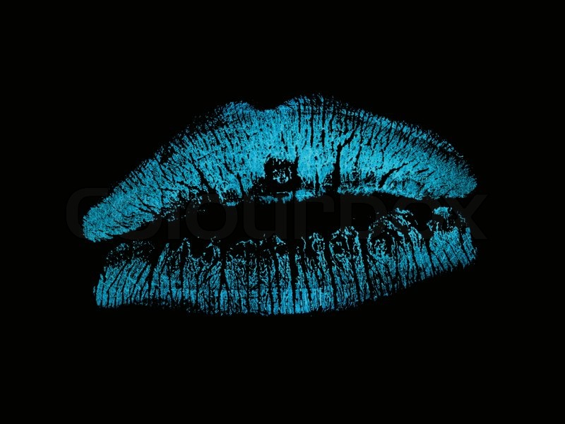 lipstick lips isolated against a black background stock