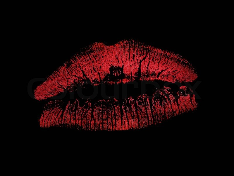 Lipstick lips isolated against a black background | Stock ...