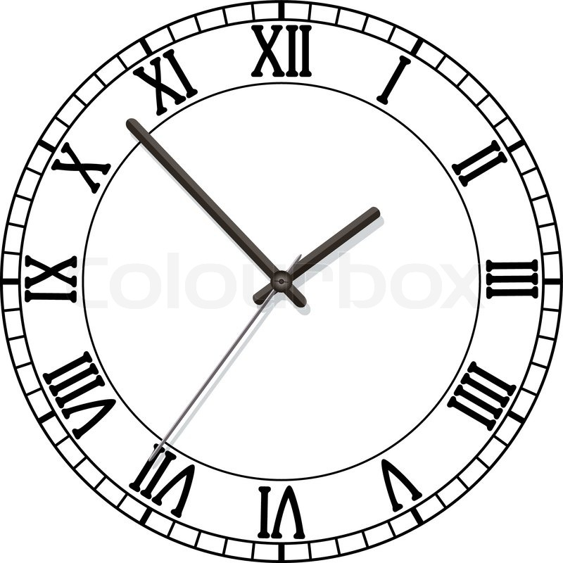 Vector Clock Dial With Roman Numbers Stock Vector