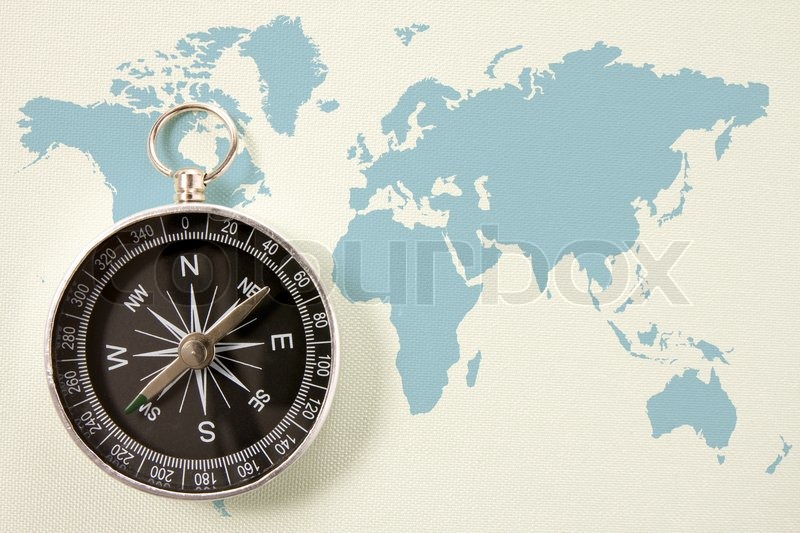 Black compass on blue world map concept for travel and tourism black compass on blue world map concept for travel and tourism stock photo colourbox gumiabroncs Choice Image