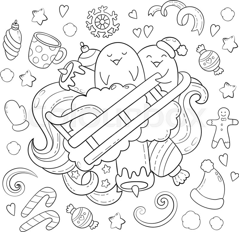 texture pattern wallpaper collection of new year christmas elements and objects set freehand sketch for adult anti stress coloring book vector