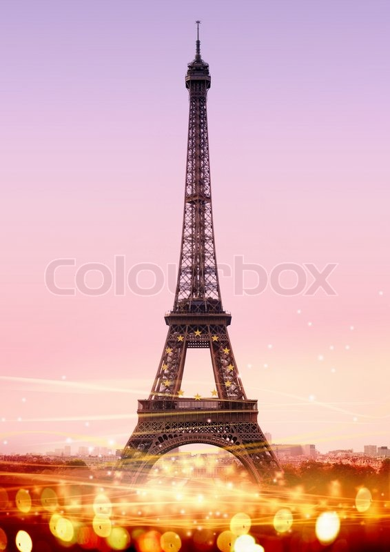 Picture Eiffel Tower on Stock Image Of  Romantic Twilight In Paris  With The Eiffel Tower