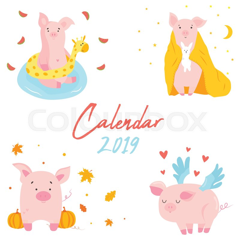 2019 calendar with funny pig monthly page character design